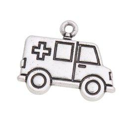 Wholesale Alloy Vintage Ambulance Car Shape Charms Medical Nurse Doctor Theme Jewlery Charms mm AAC1053