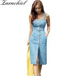 312a8023079 Zarachiel 2018 Sexy Sleeveless Backless Bow Tie Strap Jeans Dress Women  Single-Breasted Suspender Denim Sundress Overall Dress