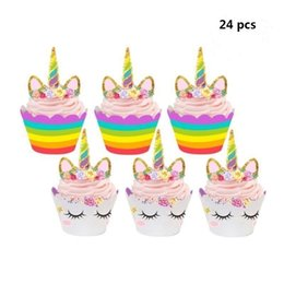 $enCountryForm.capitalKeyWord NZ - 24 pcs Cute Birthday Decoration Unicorn (12pcs Cupcake Wrappers +12pcs Cake Topper) Party decoration for Baby Shower Party Cake Decor