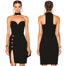 0473ecf43 2018 Little Black Dresses High Muslo Slit Halter Vestido de Cóctel Sexy  Party Evening Wear En Stock XS-L Sexy Prom Dress Ropa de Mujer