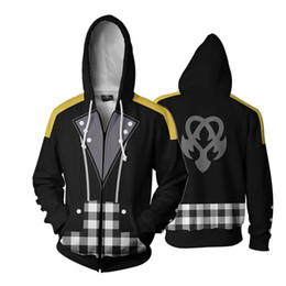 Discount sora cosplay - Game Kingdom Hearts Sora Aqua Riku Full Zip Thin Hoodies Cool Pullover Coat Jacket Unisex Jumper Sweatshirt Cosplay