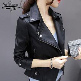 Small Size Coats NZ - Fashion Brand long sleeve women coat black women PU Jacket plus size 3XL Zipper Motorcycle Faux small leather jacket 0977 30