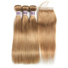 Discount hair extensions colored - #27 Honey Blonde Human Hair Bundles with Closure Straight Hair Extensions Pre-Colored Brazilian Virgin Hair 3 Bundles wi
