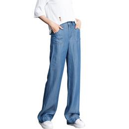 2018 pantalones vaqueros de cintura alta femenina delgada verano nueva  pierna ancha pantalones largos de gran tamaño sueltos pantalones rectos  ocasionales ... d0ee3245d197