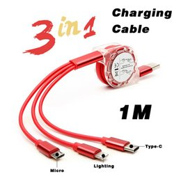 Discount chinese customs - phone cable usb cable 1M 3.3FT 3in1 Multi-function telescopic phone charging cable Custom made LOGO For Type-C IOS Andro