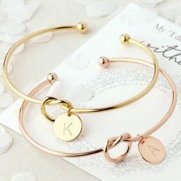 Bracciale in metallo con iniziale annodato 26 lettere fidanzata selvaggia bracciale moda casual amore apertura bracciale braccialetto donne gioielli partito