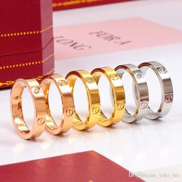 Titanium Steel Wedding Brand lovers band Ring for women Luxury CZ Zirconia rose gold Engagement Rings men jewelry Gifts PS8401