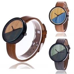 d60c5ae24b8 Fashion Men Women s Watch Couple Vintage Round Wood Grain Faux Leather Strap  Quartz Wrist Watch For Men HOT