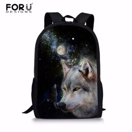 619f68e517f5 FORUDESIGNS 2018 Primary School Bags Cool Wolf Backpack for Students  Schools Backpacks Book Bag Kids Book Bag Custom