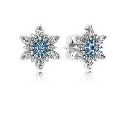 59b11cf83 COSEN PAN Original Sterling Silver 925 Earrings Crystalized Blue Snowflake Stud  Earrings Jewelry for Women Gift 290590NBLMX