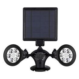 patio walls 2018 - Solar Lights Motion Sensor Double Spotlights 12 LED Solar Powered Dual head Rotatable Security Wall Light Patio Porch Ya