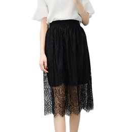 China Net Yarn Skirt Long Section 2018 Spring And Summer A Type Elastic Waist Thin Big Skirts Black Color cheap long black skirt elastic waist suppliers