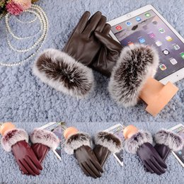 Discount thick leather gloves - Fashion Women Warm Thick Winter Gloves Leather Stylish Brand Mittens Free Size With Rabbit Fur Female Gloves women
