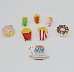 cupping pin 2019 - New Color Glaze Fashion Cartoon Cute French Fries Burger Cup Brooch Pin Accessories cheap cupping pin