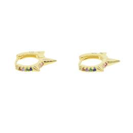 1aa367dc8cb6 2018 Fino 925 plata esterlina puntas de color dorado círculo Dulce colorido  CZ piedra pendiente para las mujeres delicadas joyas multicolor