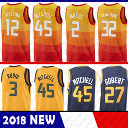 New Jersey 45 Donovan Mitchell 27 Rudy Gobert 3 Ricky Rubio 2 Joe Ingles 12  John Stockton 32 Karl Malone Basketball Jerseys 100% Stitched 29d296bd5