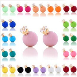 Wholesale Earings for Woman Girl Double Sided Beads Brand New Fashion Two Ends Pearl Earring Stud Candy Color Ball Women Stud Earrings