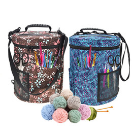 Chinese  Large-sized Cylinder Crochet Hook Storage Bag Woolen Yarn Storage Bag Tote Organizer For Knitting And Knitting Polyester 600D manufacturers