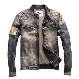 ingrosso moto giacche stati uniti d'america-BONJEAN Blue Denim Vintage Classic Biker Motorcycle Jacket Stand collare Retro Slim Fit USA Flag Jeans Coat Drop Shipping