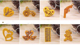 Wood Animal Figured Toys NZ - Imitation Peach Wood Online Store Gift key Pendant Key Ring Imitation Wooden Accessories Manufacturers Direct Sale of Low-price G1002
