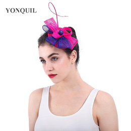 Royal blue and hot pink sinamay fascinator headwear sinamay loops with feather  cocktail headpiece wedding party millinery hats SYF353 5691a0c48105
