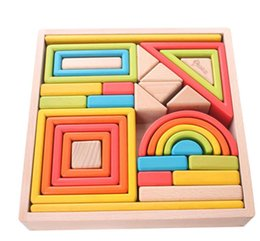 Large Building Blocks UK - 32 Piece Large Particles Rainbow Wooden Building Blocks Set Stacking Games Educational Shape and Color Learning Toys