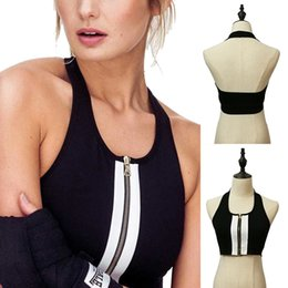65622d7cccb86 Sexy Zippered Sports Bras Women Push Up Crop Top For Fitness Black Backless  Running Vest Halter Round Neck Gym Sports Top
