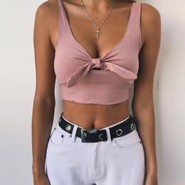 30baa9b4d730df Women tank top boW online shopping - Women Pink Knitted Crop Top Tumblr Deep  V Neck
