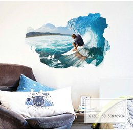 green black bedroom 2019 - 3d Surfing Pic Wall Sticker Wallpaper Wall Picture Art Vintage Room Home Decor Kitchen Accessories Household Craft Suppl