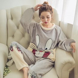 72021fdf27 2018 New Winter Women Pajamas Set Thick 2 PCS Shirt Pant Sleepwear Warm Nightgown  Female Cartoon Bear Animal Pants Nightwear D18110501