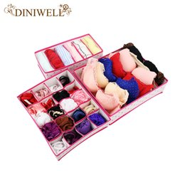 $enCountryForm.capitalKeyWord Canada - DINIWELL 3PCS Rose Dot Non-woven Design Home Folding Storage Box For Underwear Sock Bra Ties Organizer Drawer Divider Container