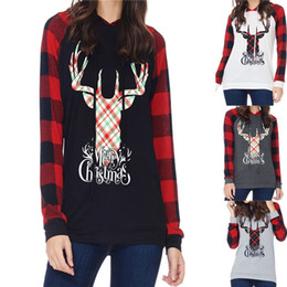 Wholesale Women Girls Christmas Hoodie Elk Deer Printing Long Sleeves Hooded Sweatshirts grid plaid shirt Pullover sweater Sportswear xmas gifts best