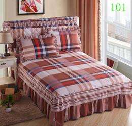 Venta al por mayor de Blue Coffee 1Pcs Algodón Falda de cama Funda de colchón Enagua Twin Full Queen King Faldas de cama Colcha CAMA Ropa de cama 200x220cm