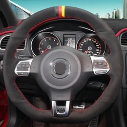 volkswagen r line NZ - Black Suede Hand-stitched Car Steering Wheel Cover for Volkswagen Golf 6 GTI MK6 VW Polo GTI Scirocco R Passat CC R-Line 2010