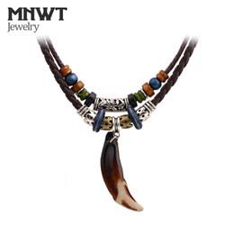 Опт MNWT Тибетский бисер шейки старинные племенной Волк зуб кулон ожерелье кожа храбрые мужчины ожерелье веревки чешские ювелирные изделия