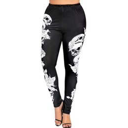 $enCountryForm.capitalKeyWord Canada - Womail 2018 Women High Waist Yoga Sport Pants Plus Size Monochrome Skulls Leggings Workout Running Tights Compression Trouser@15