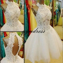pink lace skater dress NZ - homecoming Dresses 2019 real image Sheer Neck Skater cute lace a-line keyhole zipper back prom dresses short occasion gown