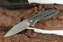 $enCountryForm.capitalKeyWord NZ - Special Offer Grey Flipper Folding Knife D2 Satin Blade TC4 Titanium Alloy Handle Outdoor Camping Hiking EDC Pocket Knives Tools