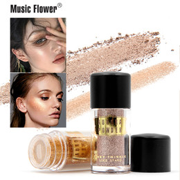 shimmer highlight makeup Canada - Music Flower Aurora Glitter Loose Powder Makeup Brighten Pigment Metallic Shimmer Highlight Eye shadow Cosmetic Free Shipping
