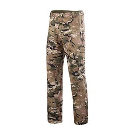bada7dfb6c4a3 2018Military Army Pant Shark Skin Outdoor Hiking Climbing CS Camouflage  Hunting Waterproof Windproof Men Fleece Trousers
