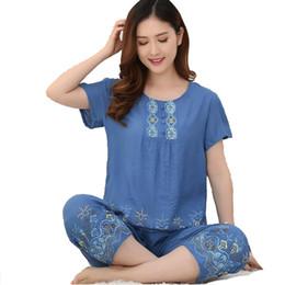 $enCountryForm.capitalKeyWord Canada - 2018 New Arrival Female Pajamas Set Sleepwear Women Cotton Linen Print Flower Pyjamas Suit Leisure Nightwear D127-09