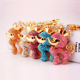 Poodle Pendants Wholesale NZ - 5 Colors Crown Poodle Dog Luxury Keychain - Rhinestone Key Ring Chains Holder Blingbling Bag Charm Pendant For Car Keyrings