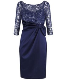 $enCountryForm.capitalKeyWord UK - Dark Navy Sheath Knee Length Mother of the Bride Dresses with Lace Sparkly Sequins for Wedding Party Mother of the groom Dresses