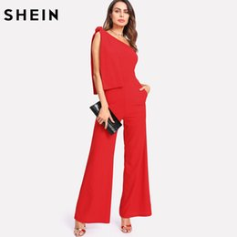 SHEIN Red Jumpsuits Summer One Shoulder Sleeveless Mid Waist Party Jumpsuit Knot Palazzo Zipper Rompers Womens Jumpsuit