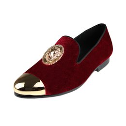 $enCountryForm.capitalKeyWord UK - Harpelunde Animal Buckle Men Dress Wedding Shoes Red Velvet Loafers With Copper Cap Toe Size 6 to 14