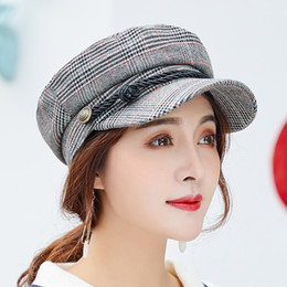 ff8bea66fb58c 2018 New Spring Summer High Quality Beret Cotton Plaid Newsboy Octagonal Hat  Women Cap For Men The French Artist Beret