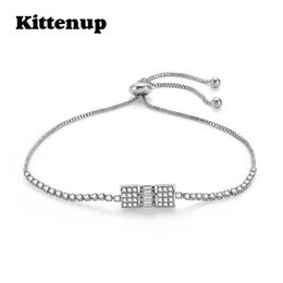$enCountryForm.capitalKeyWord NZ - Kittenup Fashion Square Crystal Bracelets For Women Silver Color Classic Bracelet & Bangle Geometric Simple Jewelry Accessories