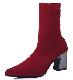 Discount red gladiator pumps - sapato feminino women mid-calf boots chunky high heels gladiator pumps autumn knitting warm shoes woman chaussure bootie