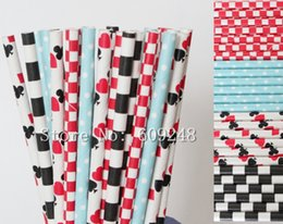 Discount red heart queen - 100pcs Mix Colors Alice in Wonderland Paper Straws,Red Checkered,Light Blue Dot,Black Sailor Striped,Playing Cards Queen