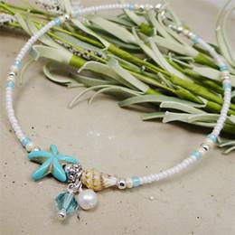 sandals shells 2019 - Shell Anklet Beads Starfish Anklets For Women 2017 Fashion Vintage Handmade Sandal Statement Bracelet Foot Boho Jewelry